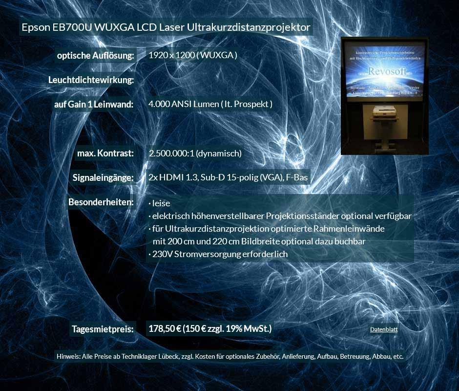 Mietangebot 4.000 ANSI Lumen LCD WUXGA Laser Ultrakurzdistanzprojektor vom Typ Epson EB700U zum Preis von 150 Euro + Mehrwertsteuer