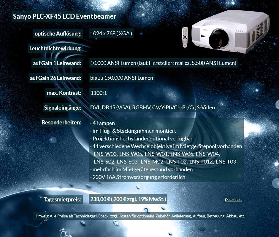 Annonce für Anmietung 10.000 ANSI Lumen LCD XGA Eventprojektor Sayno PLC XF 45 für 250 Eur zzgl. MwSt. inkl. Wechselobjektiv zur Auswahl LNS-W03, LNS-W05, LNS-W01, LNS-W06, LNS-W04, LNS-S02, LNS-S03, LNS-M01, LNS-M02, LNS-T02, LNS-T01