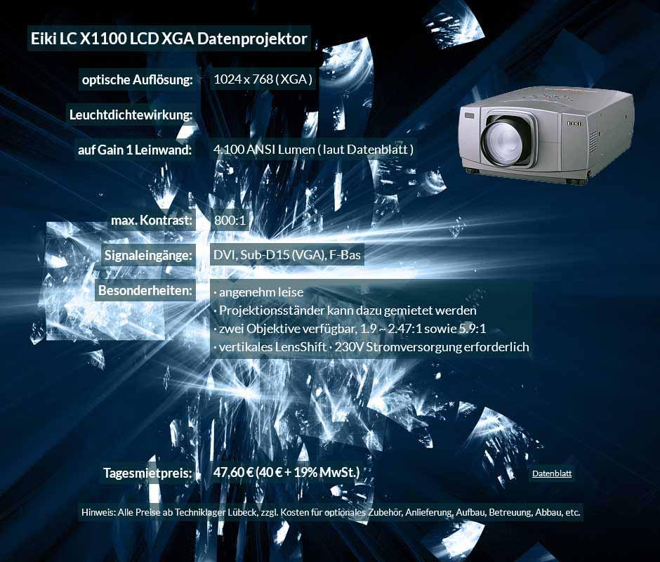 Datenprojektorvermiet-Offerte für Eiki X1100 LCD XGA Datenprojektor zu einem Mietpreis je Tag von 40 Euro + Mehrwertsteuer