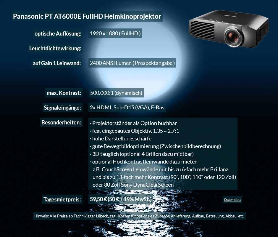 Mietangebot Panasonic PT AT6000E Heimkinoprojektor zum Tagesmietpreis von 70 Euro + Mehrwertsteuer