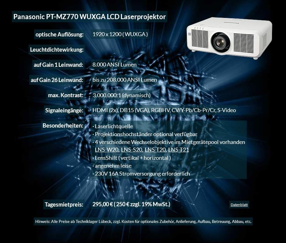 Mietprojektor Panasonic PT-MZ770