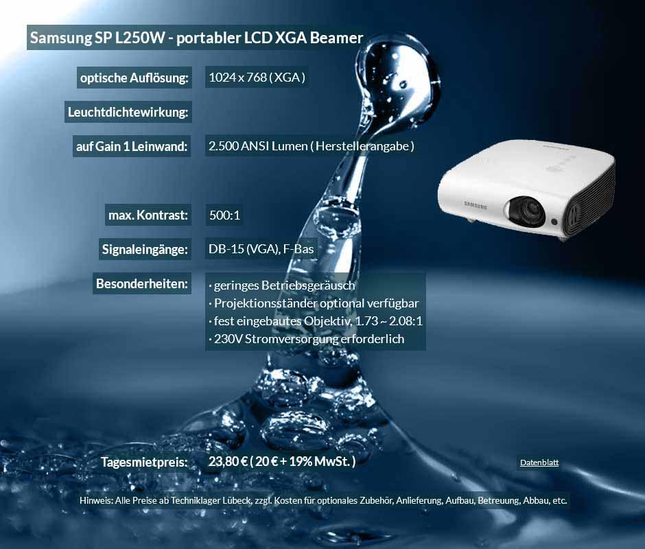 Inserat für DV Projektor Samsung SP L250W zu einem Mietpreis je Tag von 20 Euro + Mwsteuer